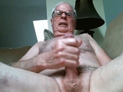 Horny Grandpa Cums