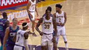 Dwight Howard gets a nice block on Draymond Green. Love seeing his energy off the bench. #LakeShow