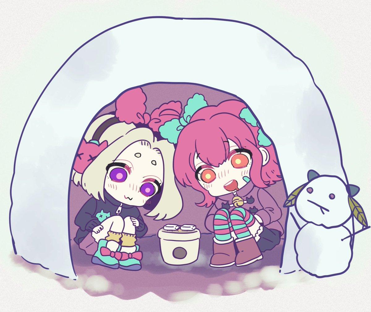 「最近 急に寒くなってきたよね〜🎀」「みんな…風邪ひかないように気をつけてね!😸」#絶望プリズン #手前の雪だるまはヒョウ柄のあの子
