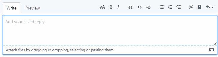 GitHub に Saved Reply という機能があるのどれだけ人が知ってるんだろう。コメント欄で CTRL+. 押すとメニュー出てきて簡単にリプライ返せるねんで。