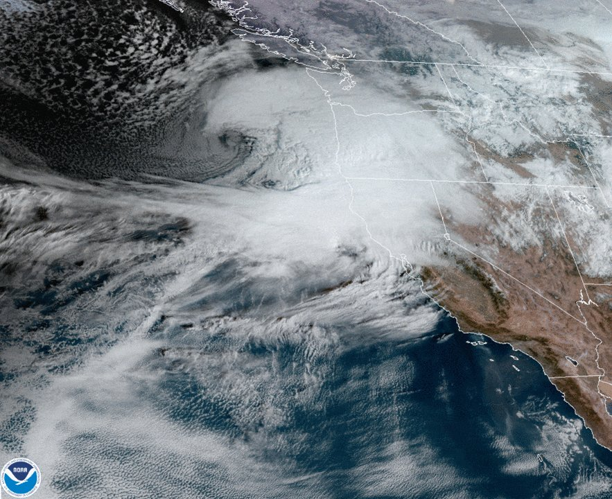 """NOAA's #GOES17 is tracking a potential #BombCyclone pushing into the #WestCoast today. @NWSMedford (OR) said, """"We are expecting a historically strong storm to impact our area."""" Damaging #winds and heavy mountain #snow will be likely for #Thanksgiving travel through Wednesday."""