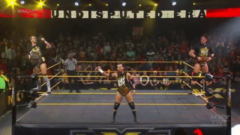 BOOM.  @AdamColePro, @roderickstrong & @KORcombat battle @RealKeithLee, @NXTCiampa, & @DijakovicWWE RIGHT NOW on #WWENXT.
