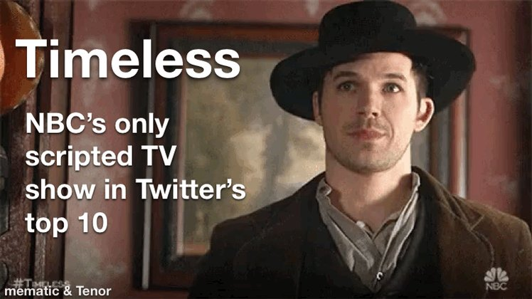 @MattLanter Seems like a good idea! #SaveTimeless is trending top 10 today, which is not all that unusual. You know what's not trending? Any other show on @nbc. 😎 #Timeless