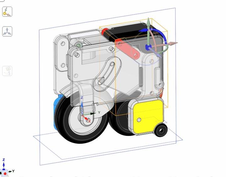 最近作ってるバイクが大分形になってきた。トランクケースサイズから変形する電動原付バイク