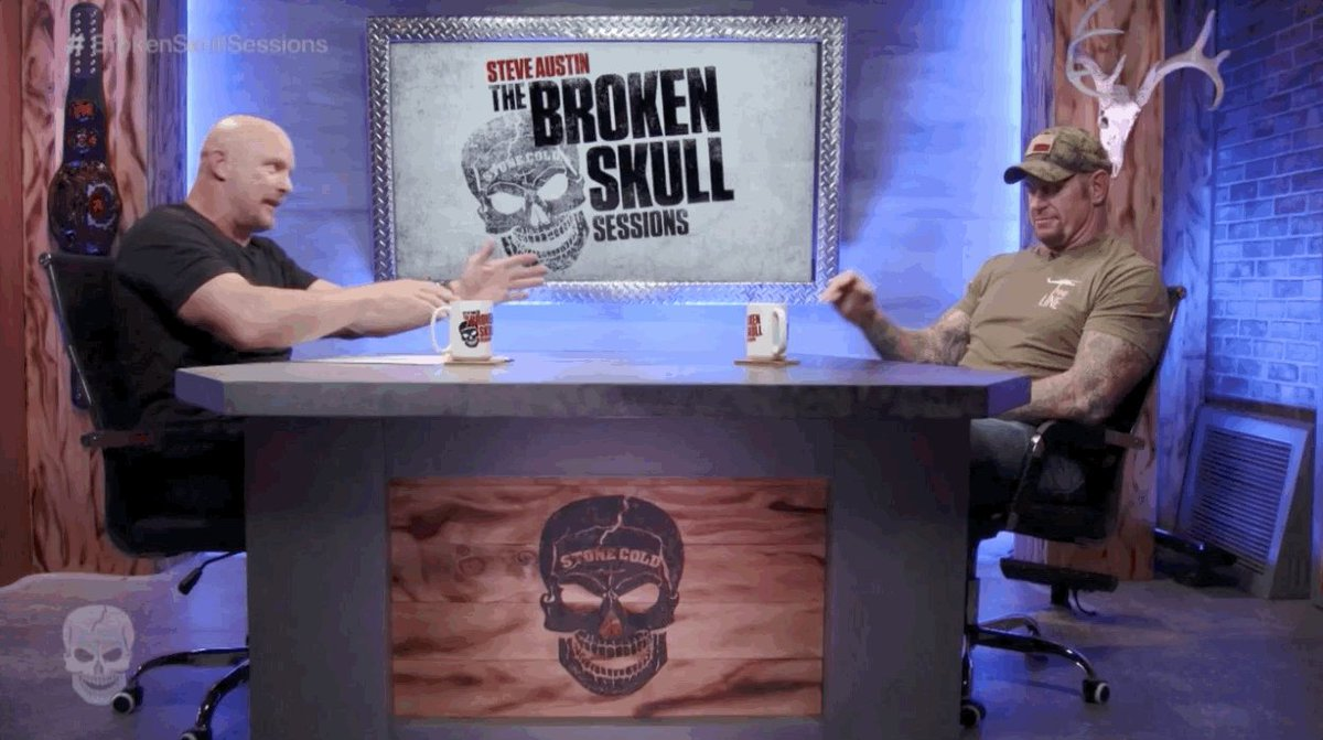 Get yourself a swig of coffee and tune into #BrokenSkullSessions with Steve Austin and The #Undertaker http://youtu.be/20bmsqEBICA