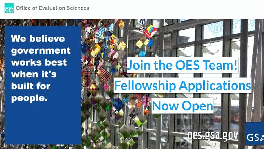 GSA's Office of Evaluation Sciences is accepting applications for its yearlong #fellowship that starts in Fall 2020! Learn more and apply here: https://t.co/j3YS1AFuzS Apply now! Deadline is Sunday, December 15, 2019. #OESatGSA