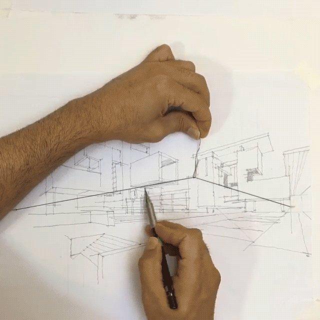 2点透視法を描くための独創的な方法