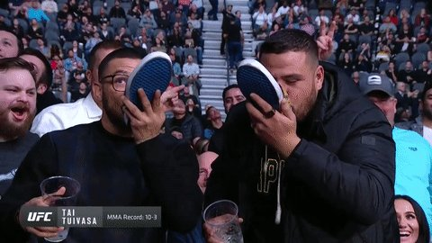 Those...might not be his shoes. 😳  Cheers? @BamBamTuivasa @CubSwanson #UFC245