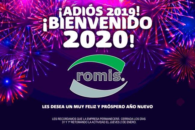 ¡Muy Feliz 2020 les desea ROMIS S.A.! Les recordamos que estaremos cerrados el 31 y 1º, retomando el jueves 2 de enero. https://t.co/7gd2I7lqIR