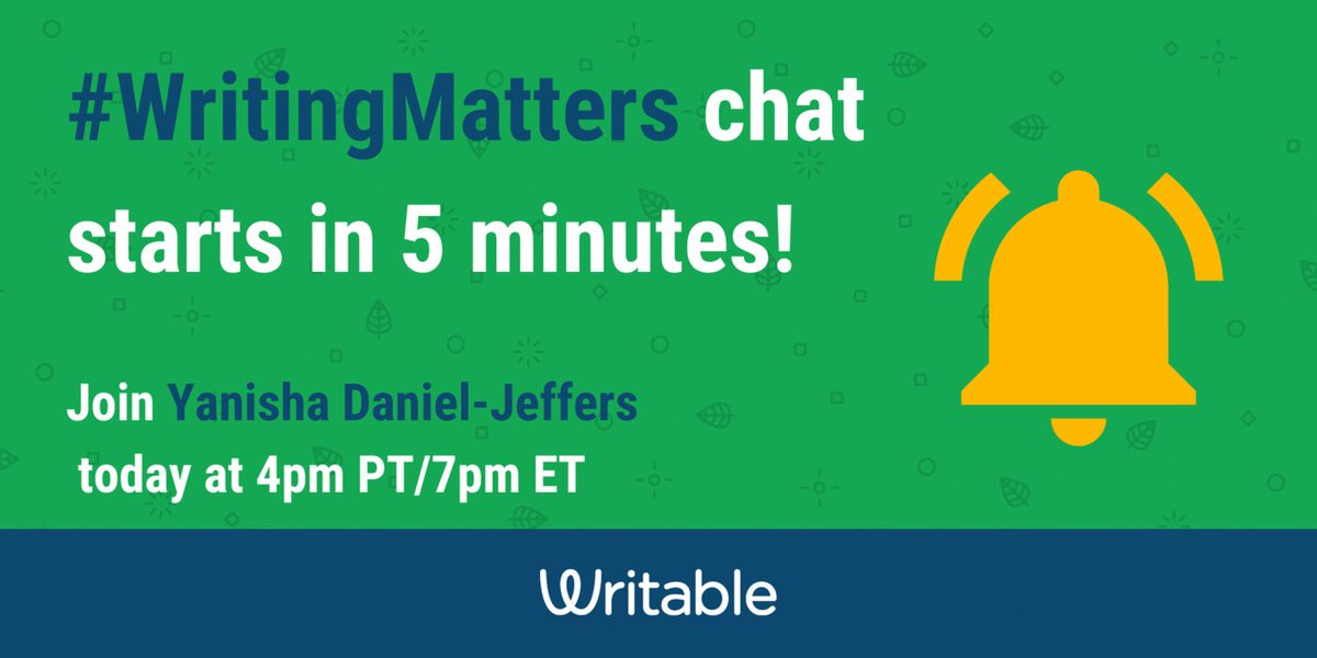 Grab your Latte ☕and warm up your fingers...  The #WritingMatters ✏️with guest host, @spoonfuloflit     chat starts in 5 mins!   #WritableWin #2ndaryELA #TeachWrite #g2great #Engchat