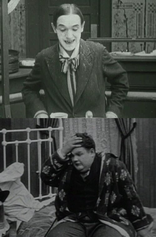 Before they were Laurel and Hardy: Stan Laurel, age 28, in Just Rambling Along (1918) Oliver Hardy, age 24, in One Too Many (1916)