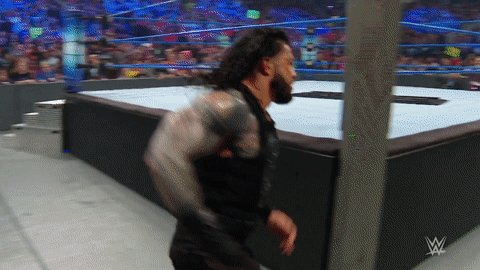 Nobody home for @WWERomanReigns as he goes CRASHING through the barricade on #SmackDown!@RealRobertRoode