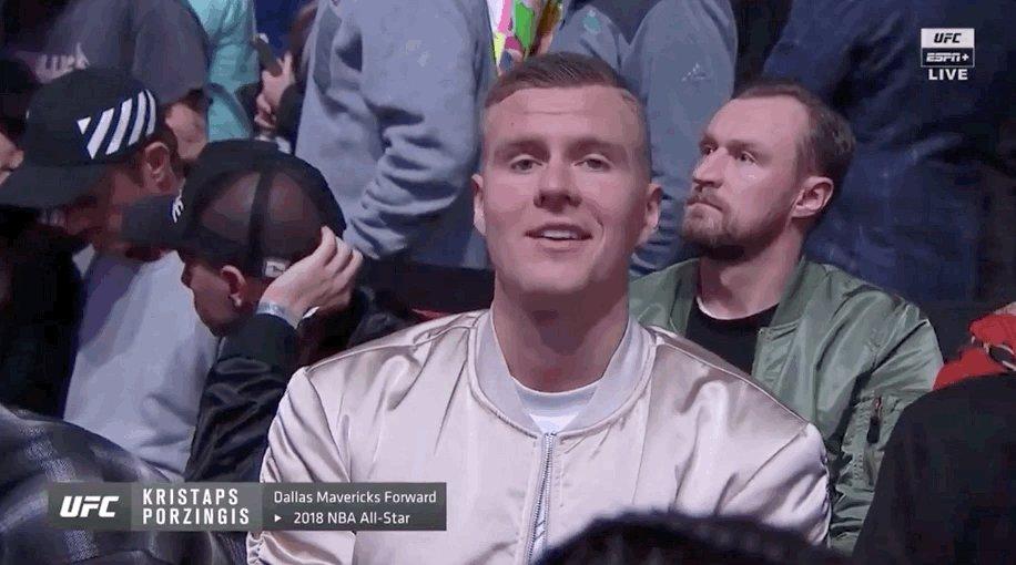 Porzingis is ready to see McGregor vs. Cerrone 😄✌️  Stream #UFC246 on ESPN+ ➡️ http://ES.PN/UFC246TW
