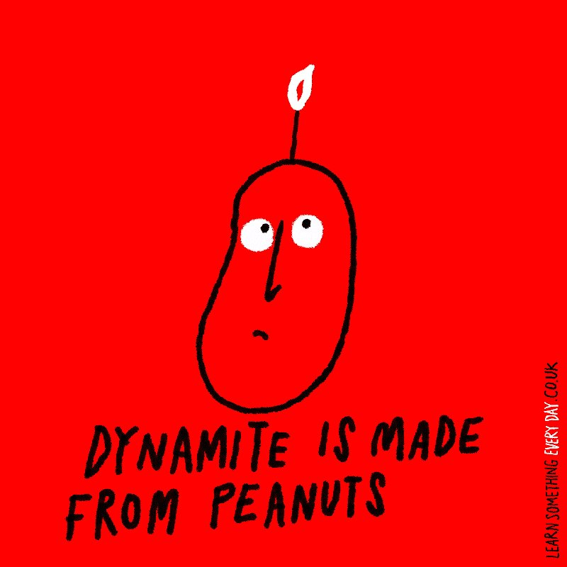 Image for the Tweet beginning: #FunFactFriday Dynamite contains peanuts as