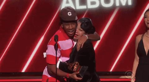 """""""That's my mom, if y'all wondering."""" - @tylerthecreator, accepting Best Rap Album at the #Grammys"""