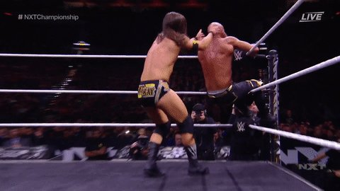 The champ isn't holding back 😬😬😬😬😬😬😬#NXTTakeOver #NXTChampionship @AdamColePro