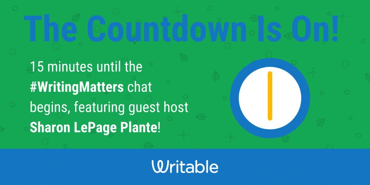 ⏰15 minutes! Until the #WritingMatters ✏️chat  ⏰15 minutes!  #Engchat #NWP #Edchat #TeachWrite #2ndaryELA #NCTEchat