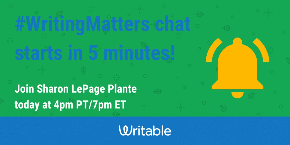 Grab your Latte ☕and warm up your fingers...  The #WritingMatters ✏️with guest host, @iplante chat starts in 5 mins!   #WritableWin #2ndaryELA #TeachWrite #NWP #Engchat