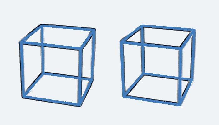 ついに立体的に動いて見える錯視が完成しました。キューブが回転して見えますね?止まっています