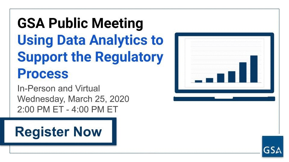 🔔 GSA is hosting a public meeting on March 25 about how better data analytics can improve the regulatory process.   ☑️ Save your seat now to attend in person or virtually: https://t.co/cKsV9swl57