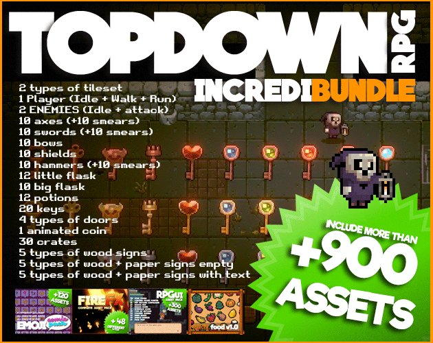 🔔RT & follow @Narehop for a chance to WIN 1/5 CODES! TOPDOWN RPG - Incredibundle🔥+900 ASSETS➡https://narehop.itch.io/top-down-rpg includes all you need to make your own TOPDOWN game or dungeon crawler#pixelart #indiedev 🚧Tilesets, 🏃‍♂️Characters,⚔Weapons,🍺Potions,🔊Sound fx