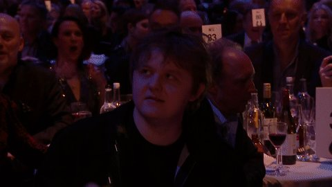 Another excellent reaction GIF supplied from @LewisCapaldi after winning Song of the Year 😅 #BRITs