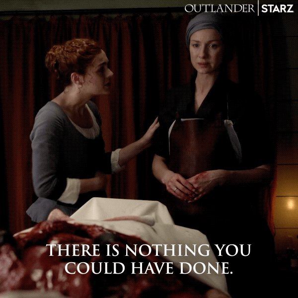 Comforting your mother over an exposed corpse... pretty sure Brianna didn't expect to do this today. #Outlander