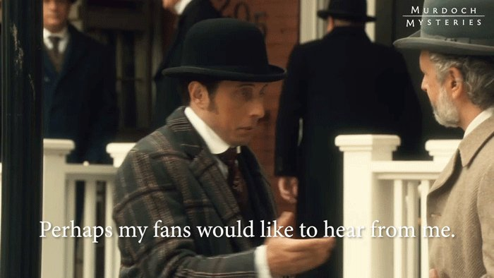 What message would you like to give to @jollyharris? 👋👋👋 #MurdochMysteries