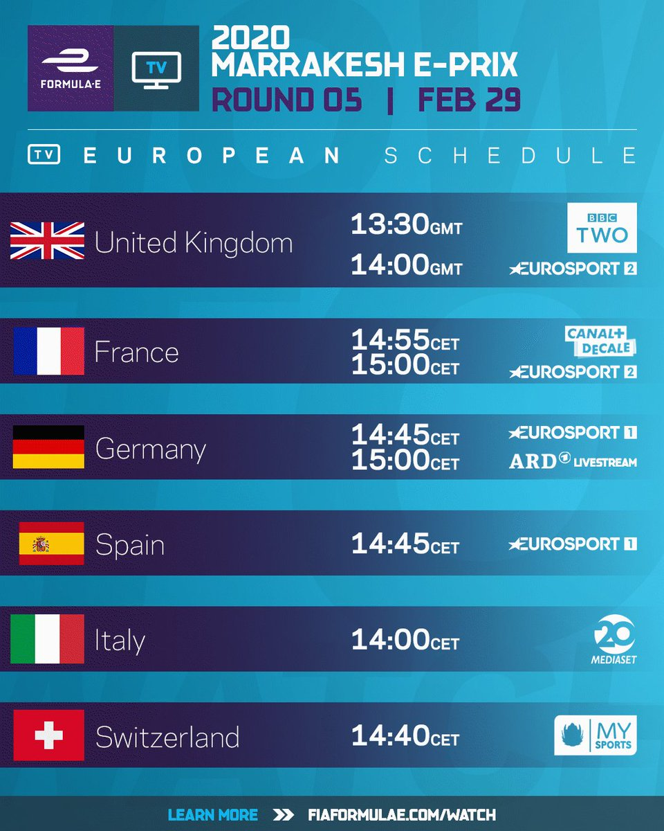 How to watch the 2020 #MarrakeshEPrix on Saturday! Can't find your country? Click here >> http://FIAFormulaE.com/Watch