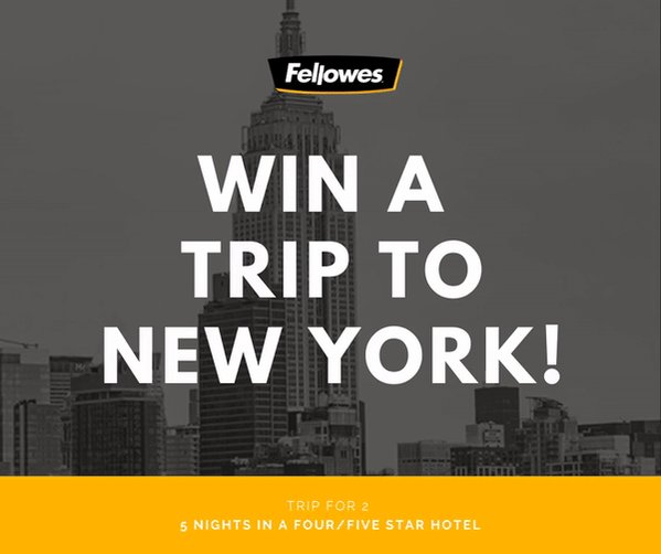📢 Stand a chance to WIN a trip for two to #NYC! 🗽🍎 ✌ 2 x People 🌚 5/6 Days ⭐️ 4 or 5 Star Hotel ✈️ Flights incl. .  How To Enter: 1️⃣ ORDER your Fellowes machine 👉http://bit.ly/NYtripCashback 2️⃣ GO TO http://www.fellowes-promotion.com 3️⃣ COMPLETE the claim form online .  #NewYork #giveaway