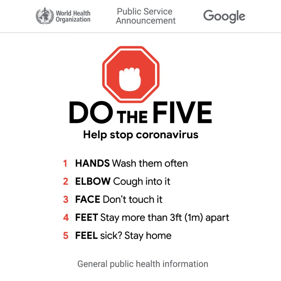 PSA from the World Health Organization! Do The Five 🖐️