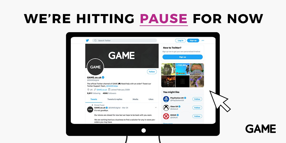 We're hitting Pause for now! But we'll be back soon to bring you the best in gaming deals and community content. Thank you for your continued support! From Game Milton Keynes  Remember to follow us @GAMEdigital https://t.co/WuyFjMk2IY