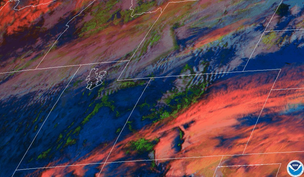 #SATELLITE SPOTLIGHT:  @NOAA's #GOES16 🛰️ is tracking a #winter #storm in the #NorthernPlains this afternoon, where there are advisories & warnings in effect.  This colorful Day #Cloud Phase Distinction loop helps distinguish #snow already on the ground, seen here in green.