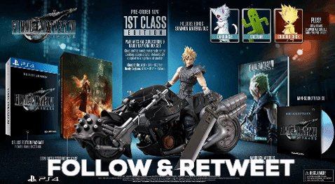 Follow CAG & Retweet for a Chance to Win FINAL FANTASY VII REMAKE - 1ST CLASS EDITION (PS4), MSRP $329.99. Ends April 15th at 10 PM ET. USA Only.