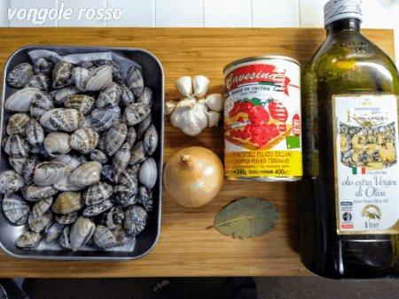 ・ポモドーロソース作る・ニンニクとオリーブオイルでアサリを蒸し焼きにして、ポモドーロソースを混ぜる。・貝は外しておいて、硬めに茹でたパスタを煮込むように和える。・最後に貝を入れてちょっと温める参考ポモドーロソース  ペスカトーレ