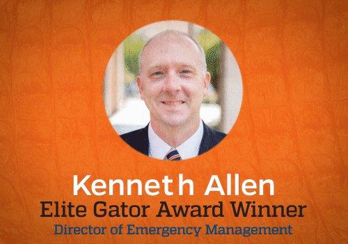 Congratulations to @kennethallen_em of Emergency Management for being named April's Elite Gator! @UFPublicSafety
