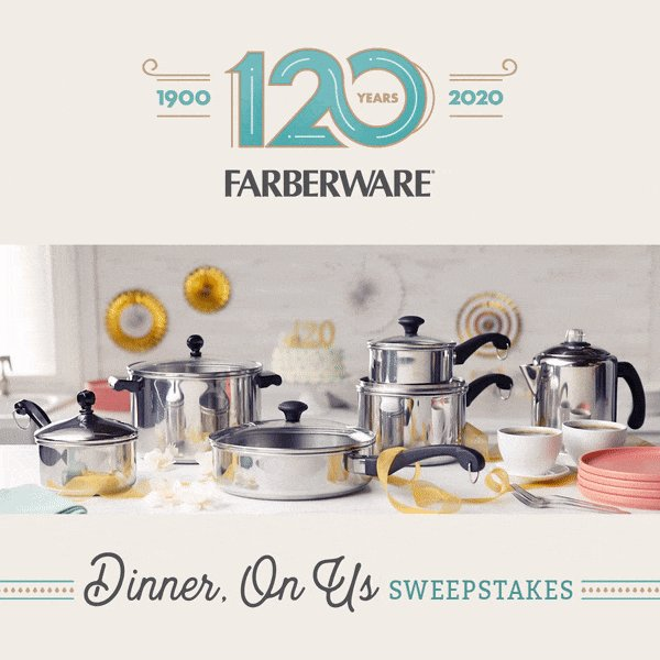 RT to share & submit an entry by 5/27 for a chance to #WIN a Farberware Classic Series cookware set & a $100 Gift Card in our Dinner, On Us Sweepstakes  http://bit.ly/39CgIOv. #Farberware120pic.twitter.com/Ww5J7GFNBo