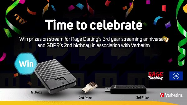 Congratulations to @RageDarling for hitting her 3-year milestone on @Twitch!  It's always important to stay safe online whether you're a creator not, so to celebrate Rage and GDPR's 2nd birthday we're giving away THREE Verbatim drives.  Enter to #WIN here: https://bit.ly/2Zo6sarpic.twitter.com/fLzZL6f8QM