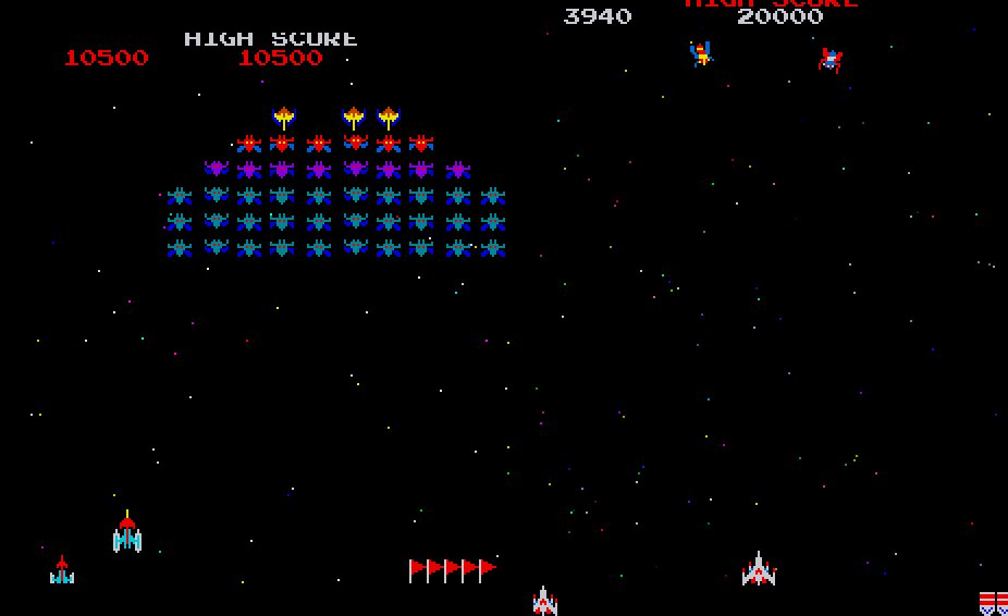 Comparing the enemy fire in Galaxian (left) to that in Galaga (right).  Shots in Galaga are focused in certain spots, and the player learns to anticipate them.  Galaxian enemies have more curtain-like fire, leaving holes to navigate.  #retrogaming #arcade #videogames #shooterpic.twitter.com/fAAefPlGUK