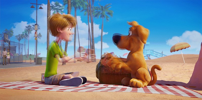 Shaggy: I'm, like, so glad you popped out of that sand, Scoob, old buddy!   It was love at first bite 🥪 Watch along with us:   #SCOOBMovieNight