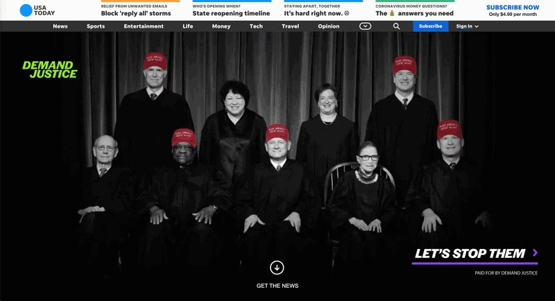The newest banner ad from @WeDemandJustice in response to the Supreme Court's Wisconsin ruling: