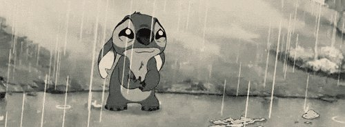 Stitch crying in the rain