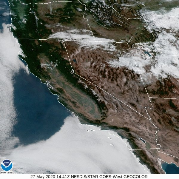 Here is the latest look at the #GOESWest Geo-Color satellite loop. With high pressure over much of California, the marine layer has been pretty shallow. Low clouds were lingering along the coast this afternoon. The marine layer will remain shallow through Thursday. #cawx #Socal pic.twitter.com/pmeMVzjjOT