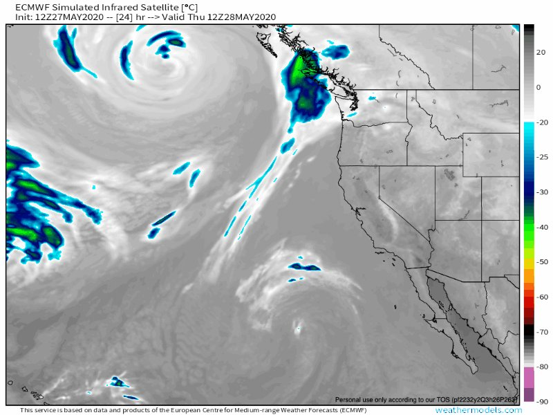 A cooling trend is on tap for #SoCal this weekend as a trough develops offshore bringing clouds and milder temperatures. A cutoff low will move across the area early next week - potentially bringing some showers to the region.  (ECMWF simulated IR Satellite depiction) pic.twitter.com/OImNKuq4Lq