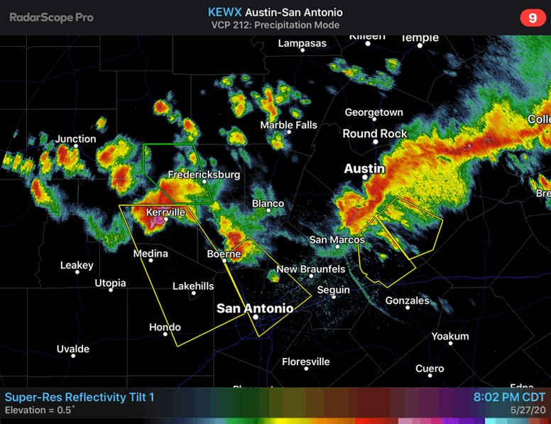 8:34p 5/27/2020 - Large Hail is possible in several areas across South Central Texas.