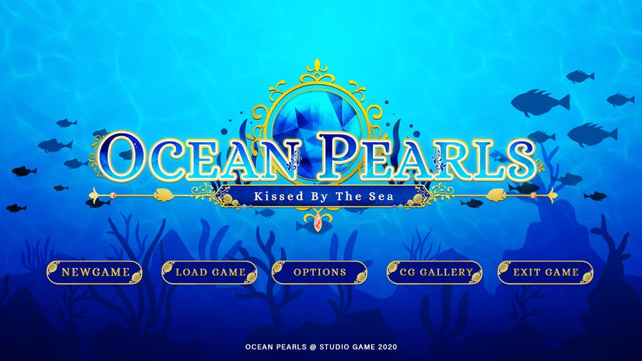 Sneak Peak of one of the game that i've been working on,  Ocean Pearls Title Screen and Logo!   #otome #indiedev #vndev #visualnovel #gui #logo #realicepic.twitter.com/PQMrgJTyXS