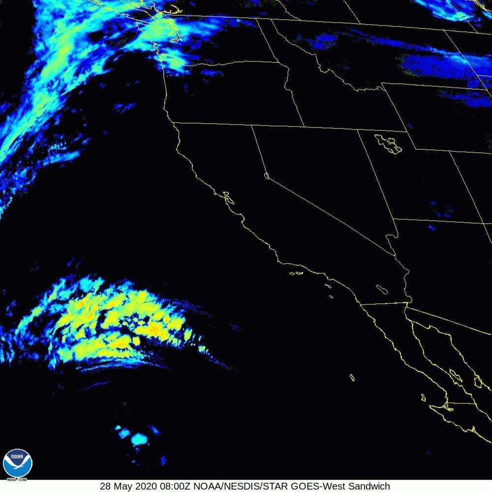 Latest look at #GOESWest Sandwich Sat loop which combines both IR and Visible imagery. The yellow colors represent the higher cloud tops associated with the upper low spinning off the California coast. The white clouds along the coast represent low clouds. #cawx #LAweather #SoCal pic.twitter.com/fzyftj7yjR