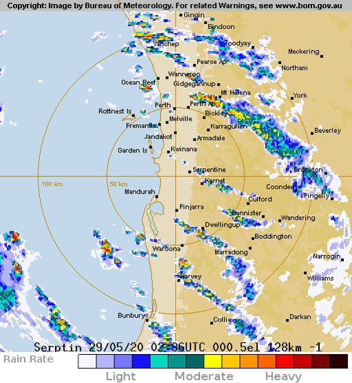 Heavy showers & thunderstorms are approaching the #Perth metro area  The cold front has moved across the #southwest and will move through Perth around 2-4pm. Damaging wind gusts to 100km/h are possible. Perth has now recorded 97.8mm of rain for May, the average is 89.4mmpic.twitter.com/j4HcqPguxk