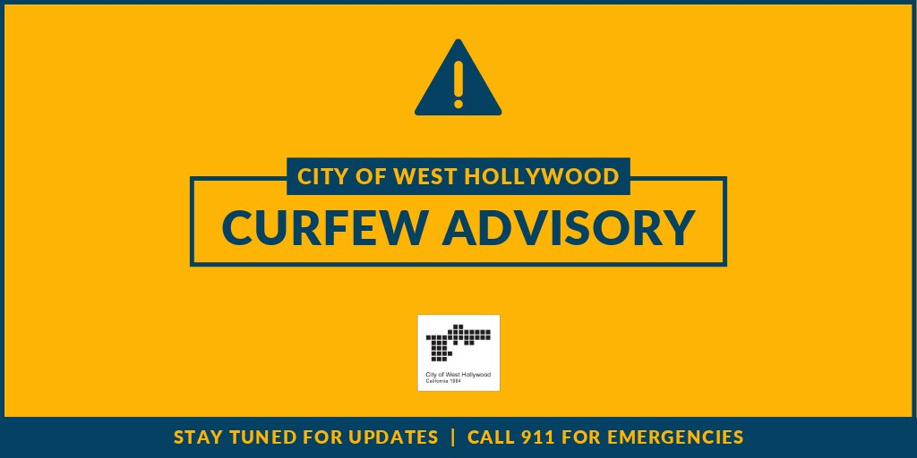 Image for the Tweet beginning: CURFEW ADVISORY: We've implemented a