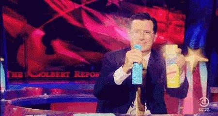 Stephen Colbert Spray GIF